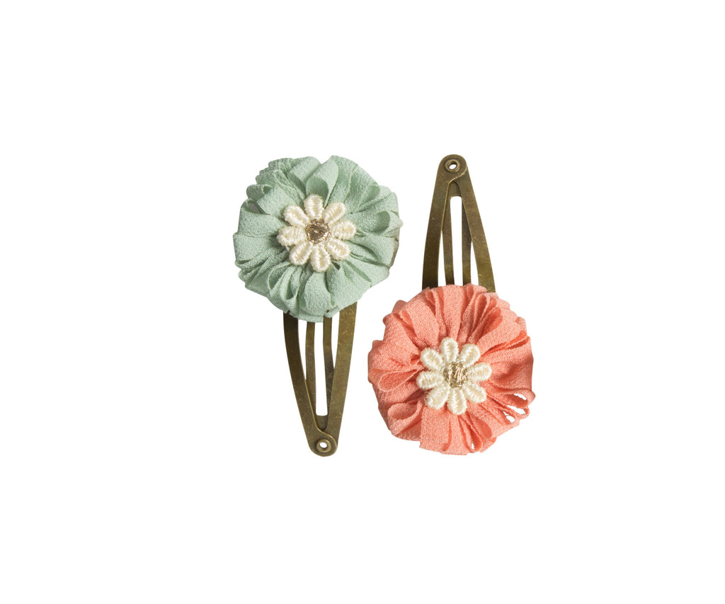 Mini Flower Hair Clips, Rose- Green