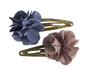 Fluffy Flower Denim, Hair Clips
