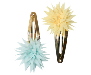 Dahlia Flower Clips in Lemon&Ice Mint