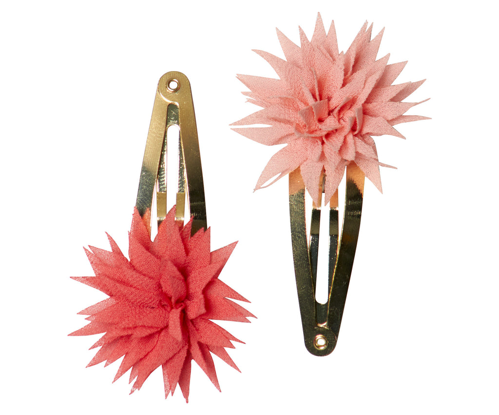 Dahlia Flower Clips in Raspberry&Melon