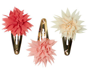 Dahlia Flower Mini Clips, Tricolor Berry
