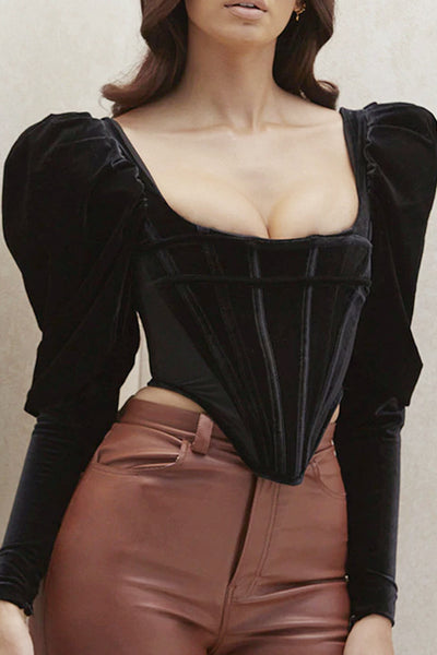 Clair Long Sleeve Velvet Corset - Maximum Beauties