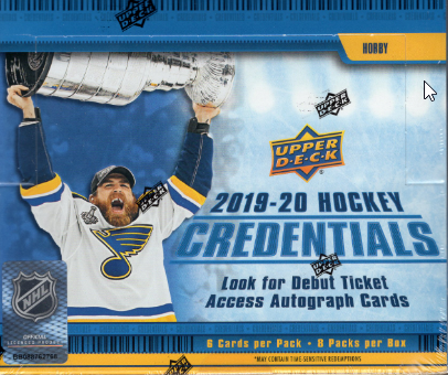 2019/20 Upper Deck Credentials Hockey Hobby Box
