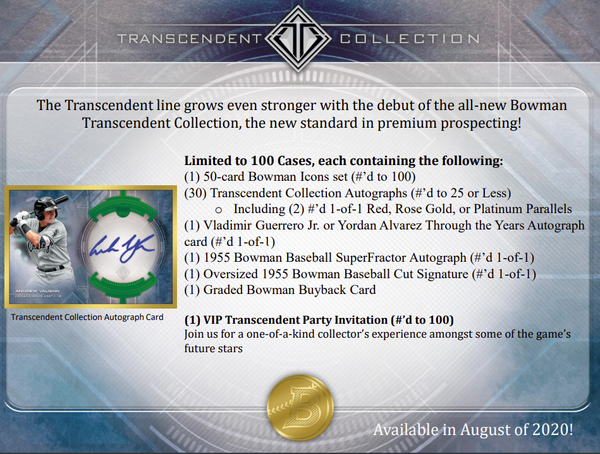 2020 Bowman Transcendent Collection Baseball Case