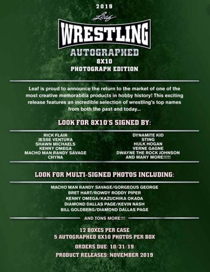 2019 Leaf Wrestling Signed 8x10 Photograph Edition Hobby Box