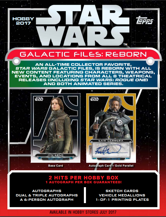 2017 Topps Star Wars Galactic Files Reborn Hobby Box (JUL 19th)