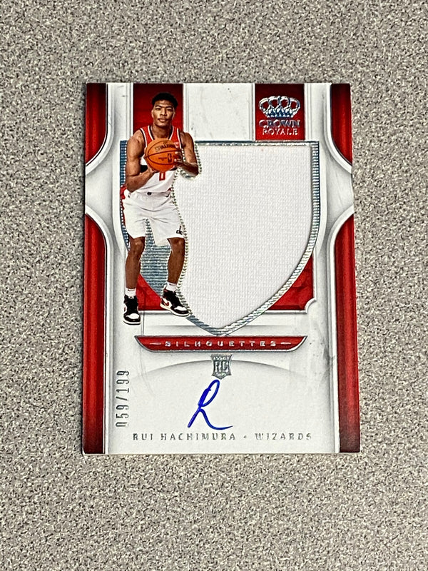 2019/20 Panini Crown Royale Rui Hachimura Rookie Jersey Autograph Card. Serial #d 059/199