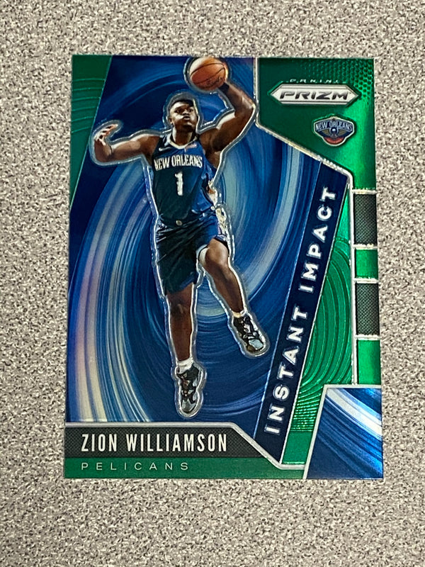 2019/20 Panini Prizm Zion Williamson GREEN Rookie Insert Card. Card # 2