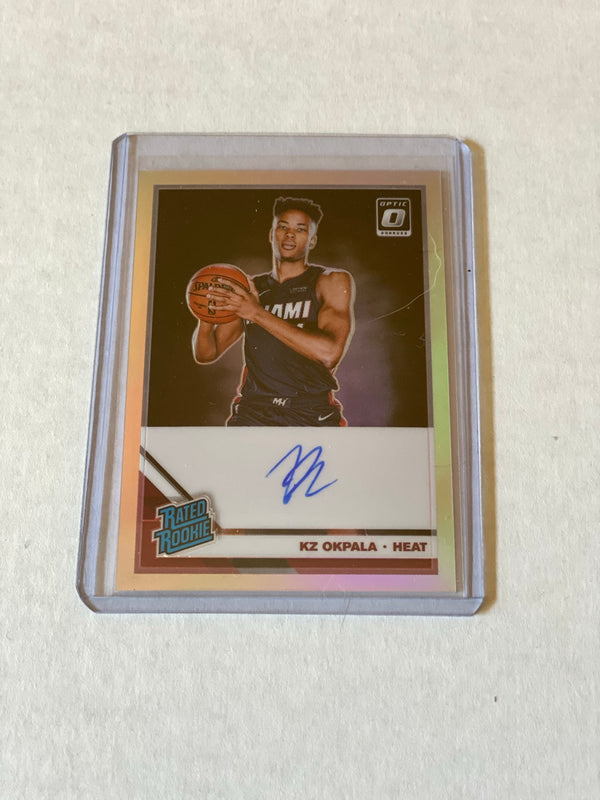 2019/20 Panini Donruss Optic KZ Okpala Silver Autograph Rookie Card.  Card # 189