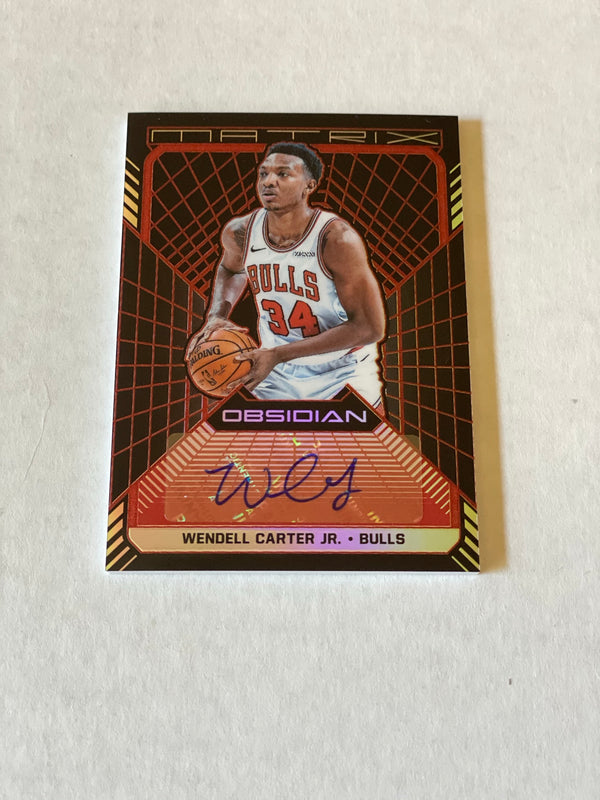 2018/19 Panini Obsidian Wendell Carter Jr. RED Etched Rookie Autograph Card. Card Serial # 2/5