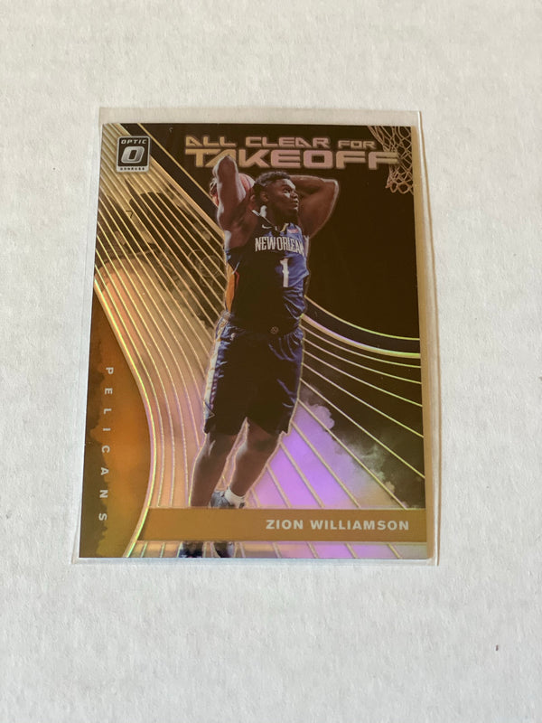 2019/20 Panini Donruss Optic Zion Williamson Silver Insert Rookie Card.  Card #14