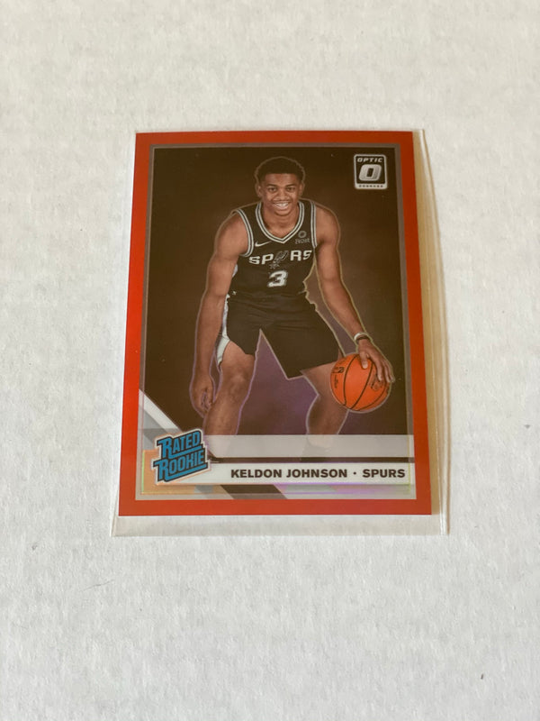 2019/20 Panini Donruss Optic Keldon Johnson RED Rated Rookie Card. Serial #d 15/99