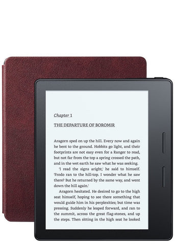 Amazon Kindle Oasis, Merlot Leather Charging Cover, Wi-Fi with Advertisements (US Set, 2016)