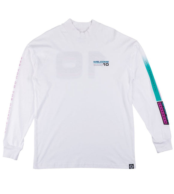 WELCOME SPACE RACE MOCK NECK L/S TEE - WHITE