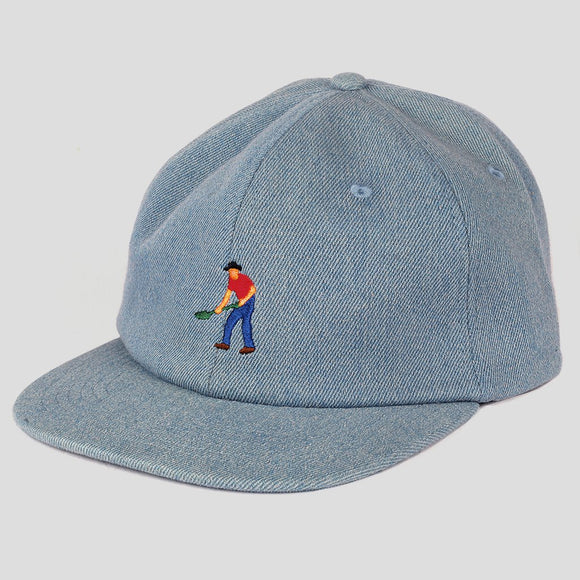 PASSPORT FULLTIME WASHED DENIM 5-PANEL CAP - BLUE