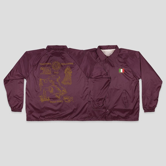 PASSPORT INTERNATIONAL TEA TOWEL ITALY COACH JACKET - MAROON