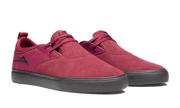 LAKAI RILEY 2 SHOES - BURGUNDY/BLACK SUEDE
