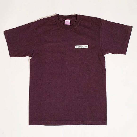NUMBERS MITERED LOGOTYPE T-SHIRT - BURGUNDY