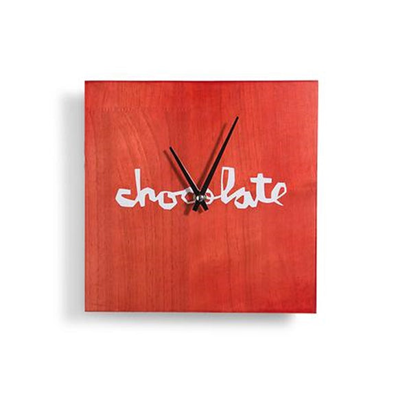 Chocolate Red Square Chunk Wall Clock