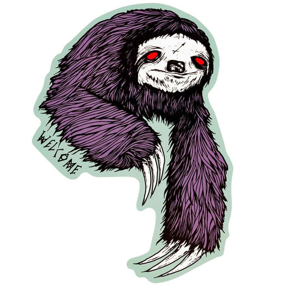 WELCOME SLOTH STICKER - PURPLE/SAGE 6.5