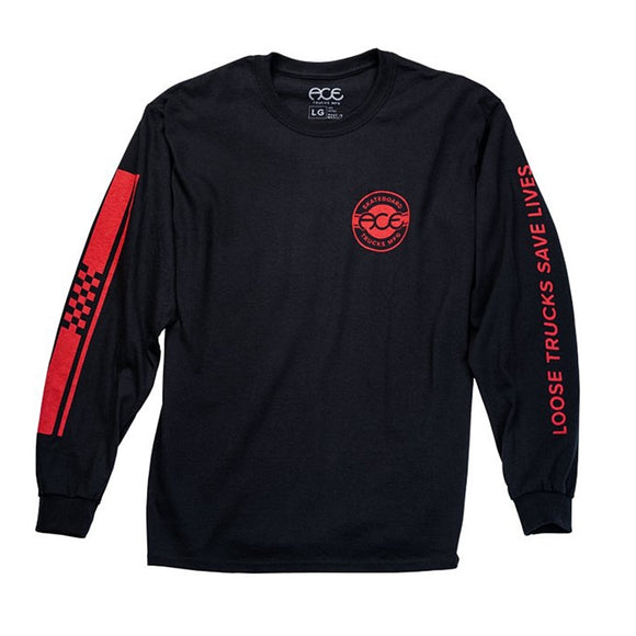 ACE RETRO JERSEY L/S TEE - BLACK