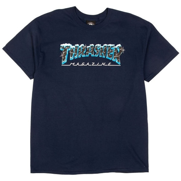 THRASHER Black Ice Tee - Navy