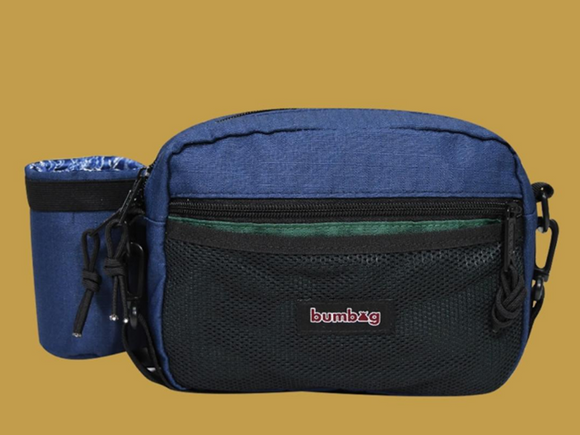 BUMBAG LOUIE LOPEZ COMPACT XL SHOULDER BAG WITH BOTTLE HOLDER - NAVY/FOREST GREEN