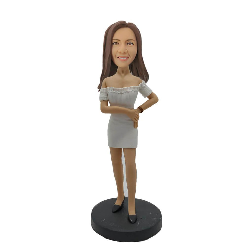 White Short Skirt Elegant Girl Custom Bobblehead