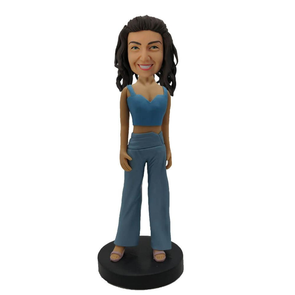 Light Blue Leisure Suit Woman Custom Bobblehead