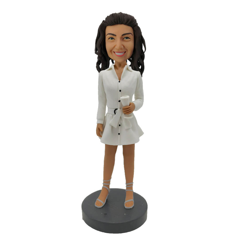 White Short Skirt Lady Custom Bobblehead