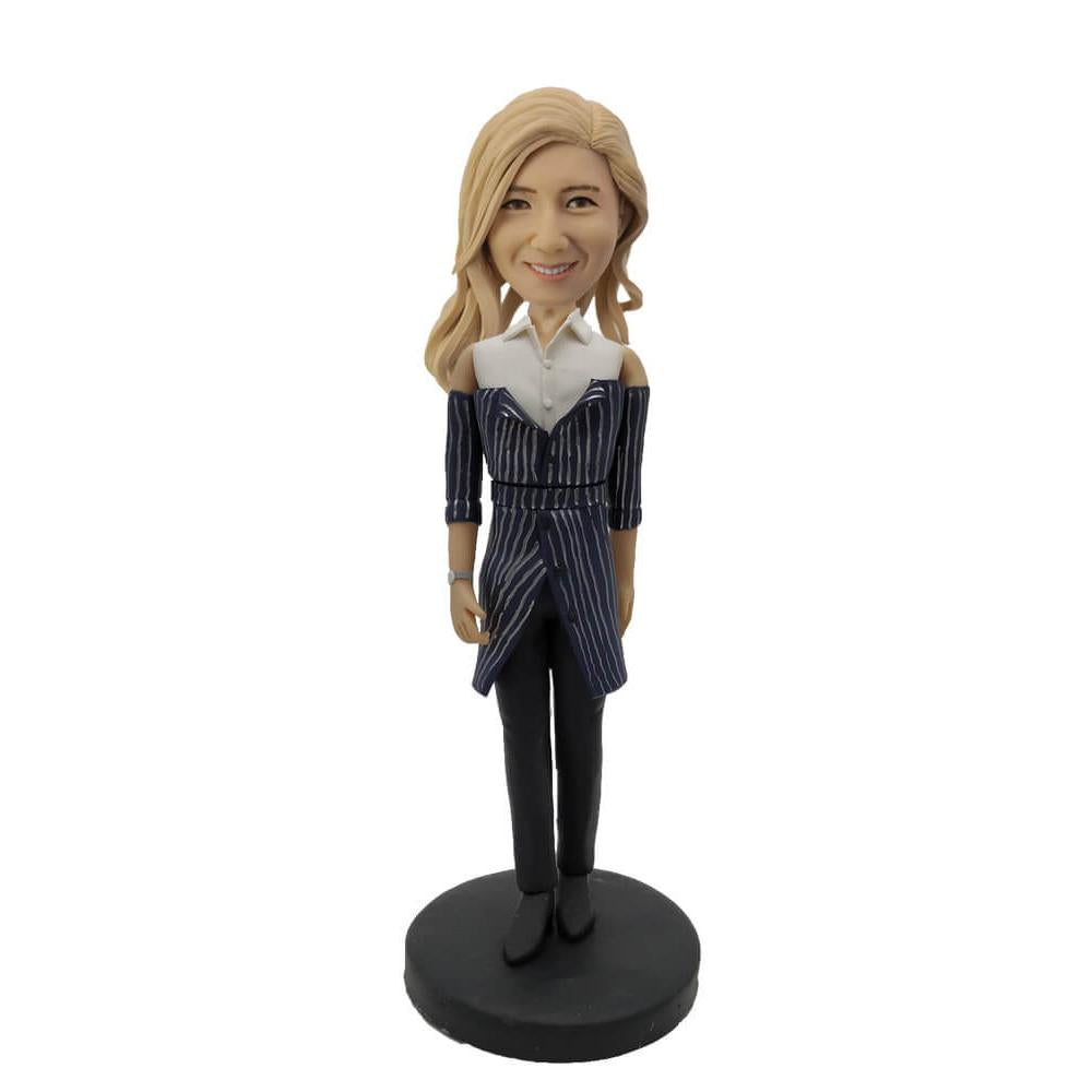 Dark Strip Suit Lady Custom Bobblehead