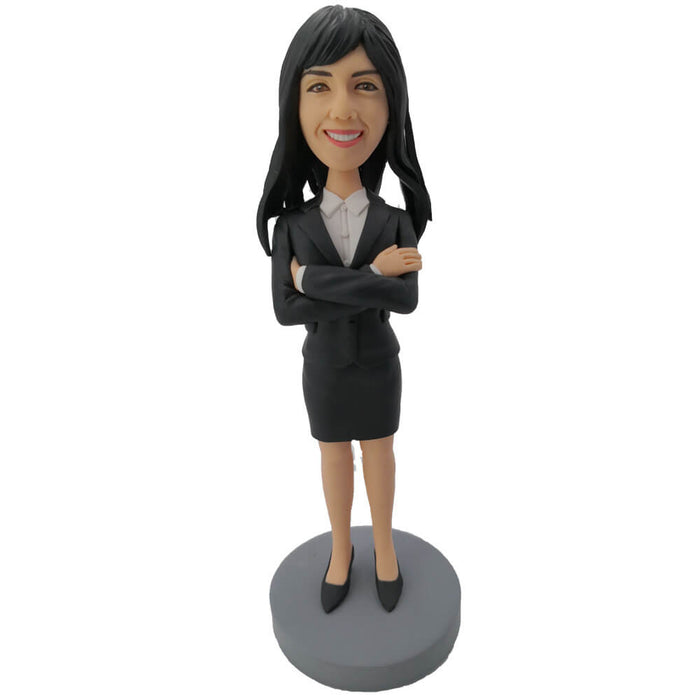Crossed Hands Business Woman Bobblehead