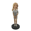 White Strip Suit Fashion Girl Custom Bobblehead