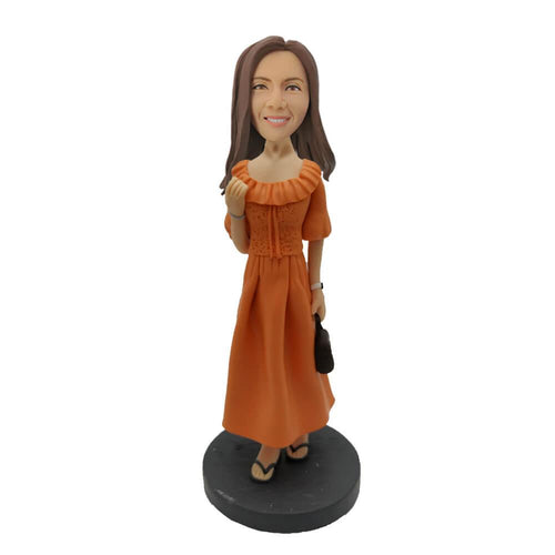 Lady Carrying a Handbag Custom Bobblehead