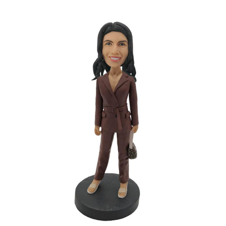 Brown Leather Coat Lady Custom Bobblehead