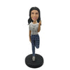 Single Foot Support Fashion Lady Custom Bobblehead