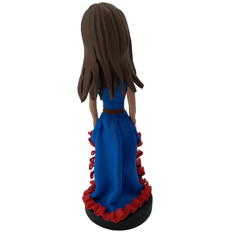 Red lace blue skirt girl bobblehead