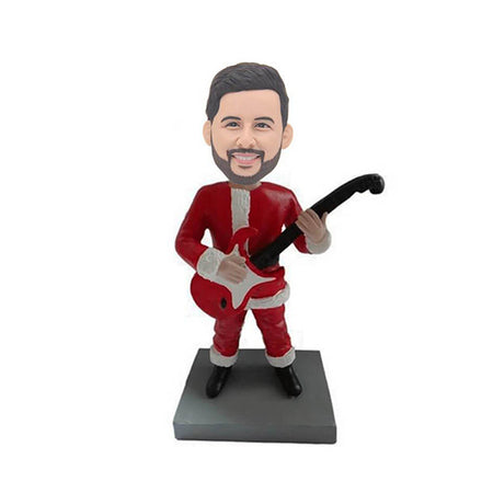 Christmas Man Holding Guitar Custom Bobblehead