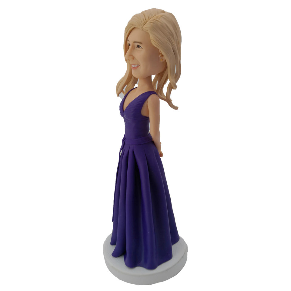Lady in Purple Dress Customized Bobblehead