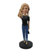Black Shirt Jeans Lady Custom Bobblehead