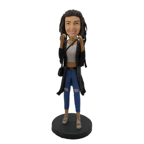 Jeans Lady Wearing Black Coat Custom Bobblehead