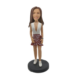 Wearing Watch Short Skirt Girl Custom Bobblehead