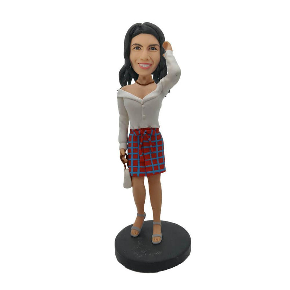 Lattice Pattern Skirt Girl Bobblehead