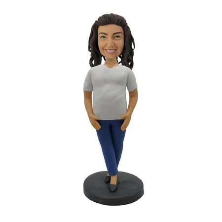 White Shirt Fat Woman Bobblehead