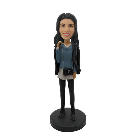 Slim Girl Wearing Sweater Bobblehead