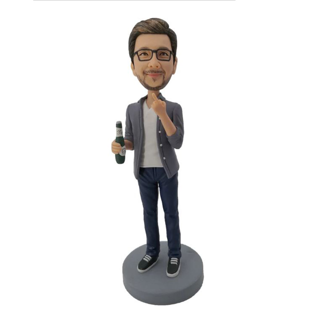 Beer Man Custom Bobblehead Raise his Middle Finger