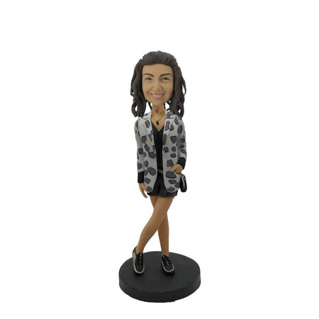 Spotty Coat Short Pants Lady Customized Bobblehead