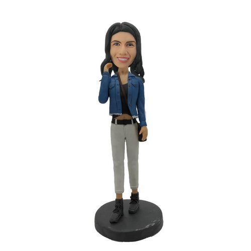 Gray Pants Fashion Girl Custom Bobblehead