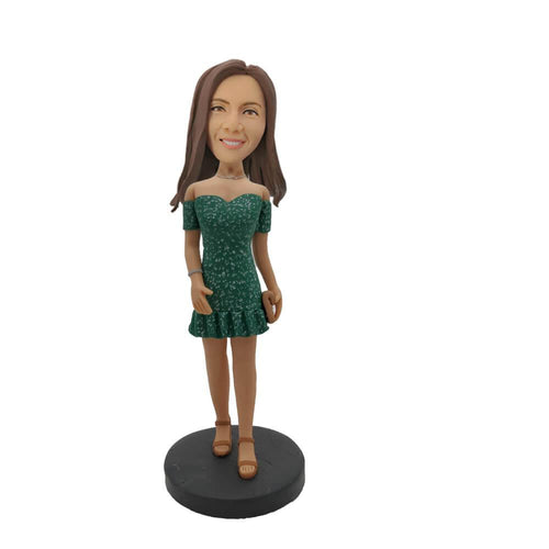 Green Skirt Girl Custom Bobblehead