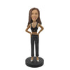 Black Strip Suit Girl Custom Bobblehead